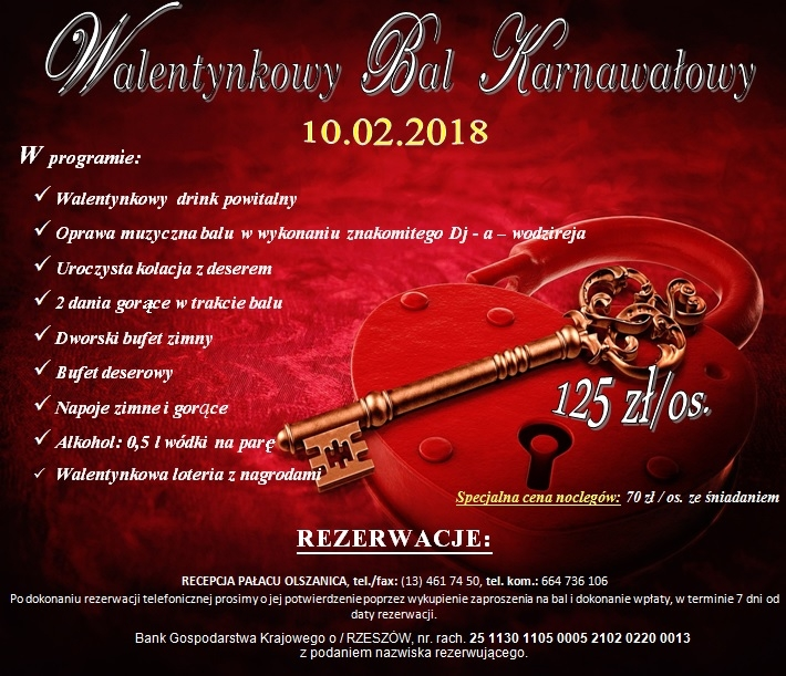 Zapraszamy Na Karnawałowy Bal Walentynkowy W Pałacu Olszanica